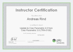 Instructor Certification TRN-5100 Update Creo4 von Creo3