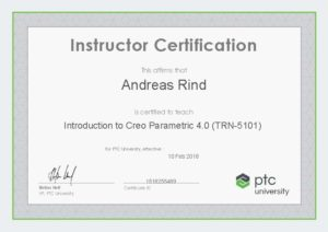 Instructor Certification TRN-5101 Einführung in Creo Parametric 4.0
