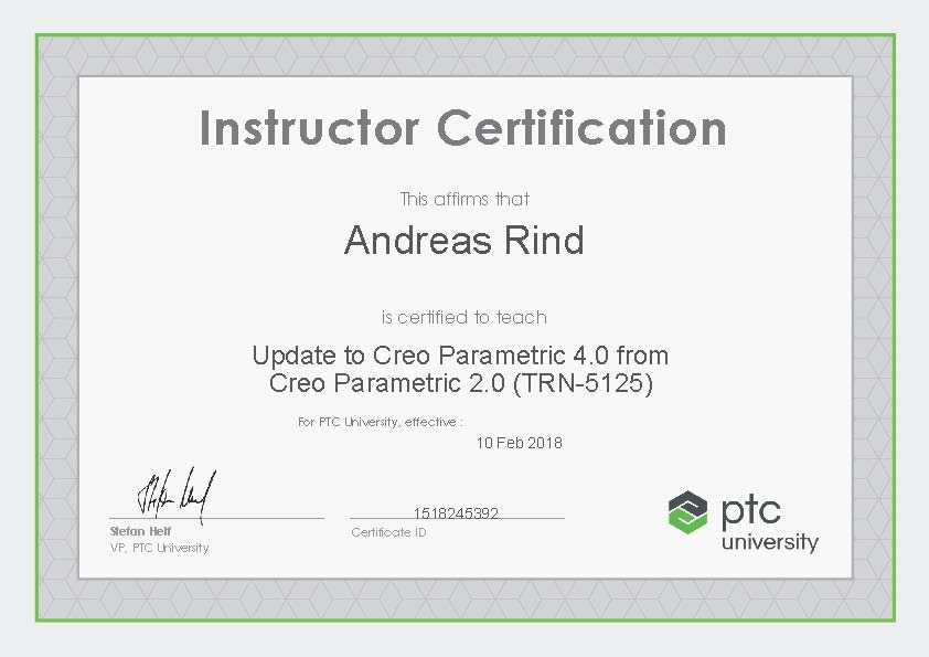 Instructor Certification TRN-5125 Update Creo4 von Creo2