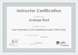 Instructor Certification TRN-5126 Creo Parametric 4.0 für Benutzer von SolidWorks